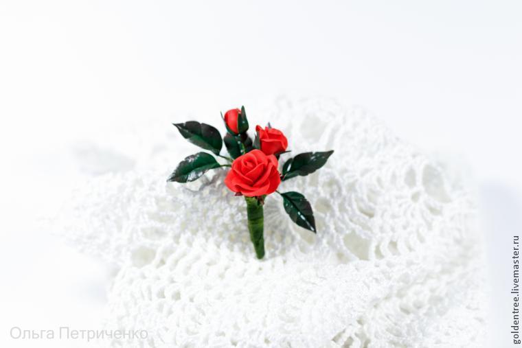 брошь-цветок, роза