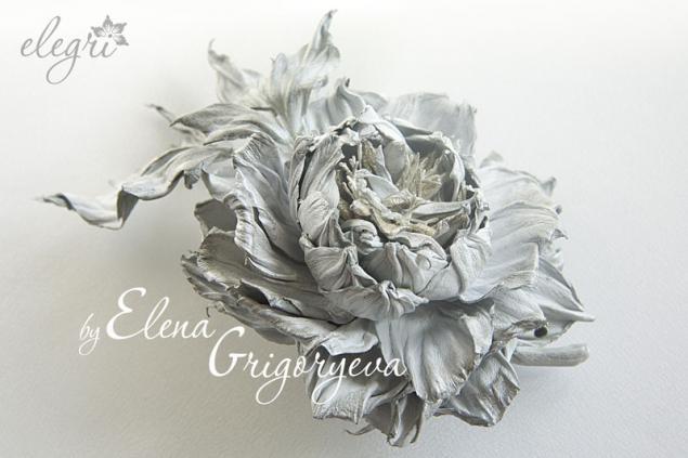 авторская технология, купить розу, обучение цветам, белая брошь, мастер-класс по цветам