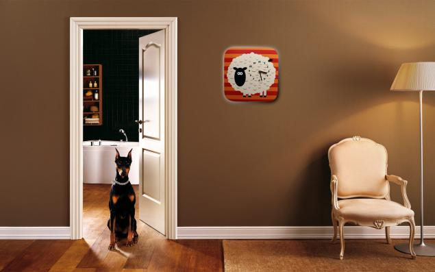 часы овечка, в полоску, настенные часы, дизайнерские часы, оранжевый, подарок ребенку, часы в детскую, часы для детской, часы на кухню, дизайнерские вещи