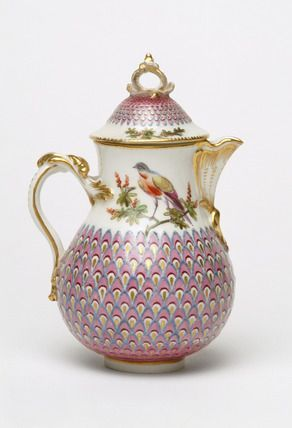 Painted pot and cover with peacock pattern, 1740-1770.  The porcelain factory at Chelsea was managed by Nicholas Sprimont, a Hugenot silversmith.