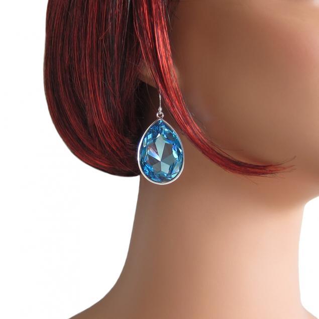 кристалл, украшение, синие серьги, кристалл и серебро, подарок жене