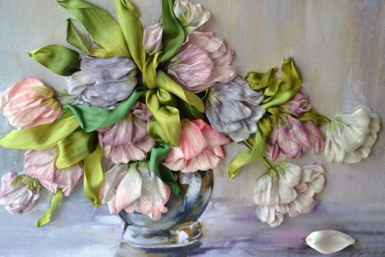 вышивка, подарок, цветы