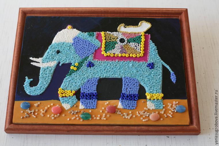 How to Make a Beaded Mosaic with an Indian Elephant with Kids, фото № 8