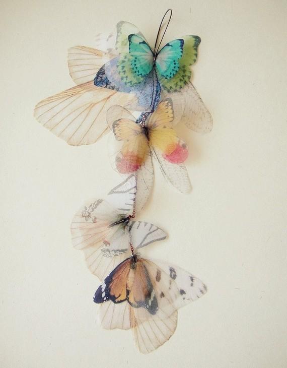 Заявления Fluttery кластера Длинные серьги-бабочки передачи на органзы и шелка SINGLE