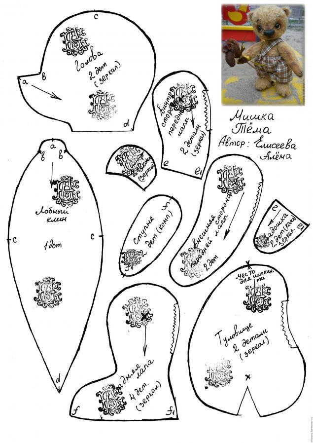Авторские выкройки мишек своими руками