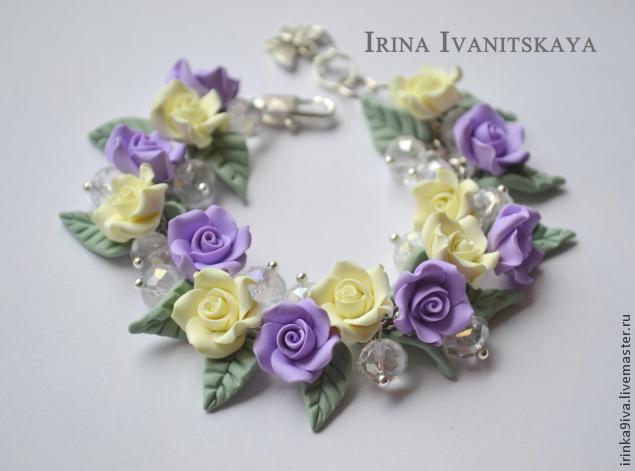пластика, браслет, цветочный браслет, браслет из пластики, розы из пластики, лепка из полимерной глины, ручная работа