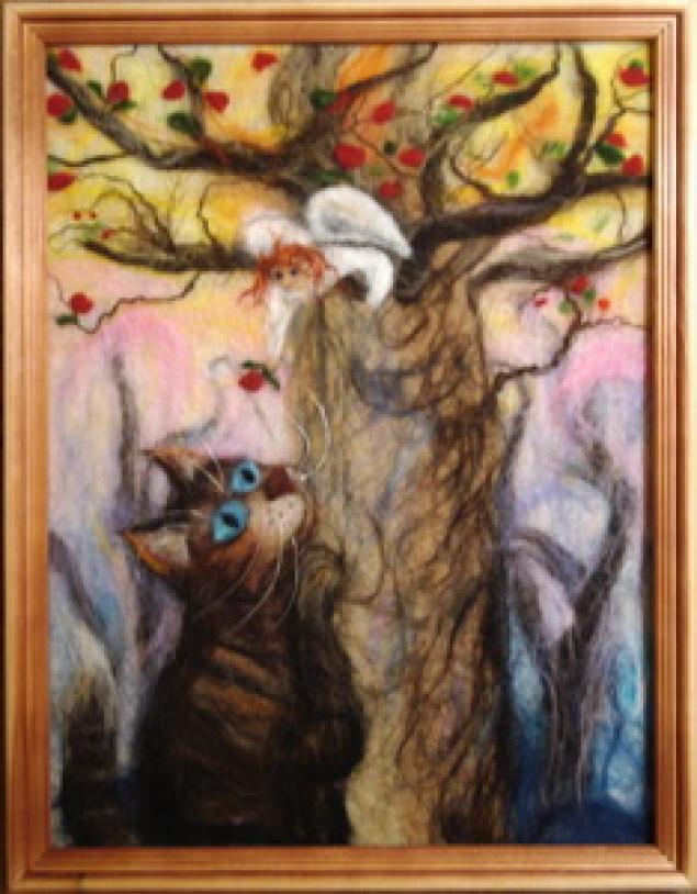 картины из шерсти, шерстяная живопись