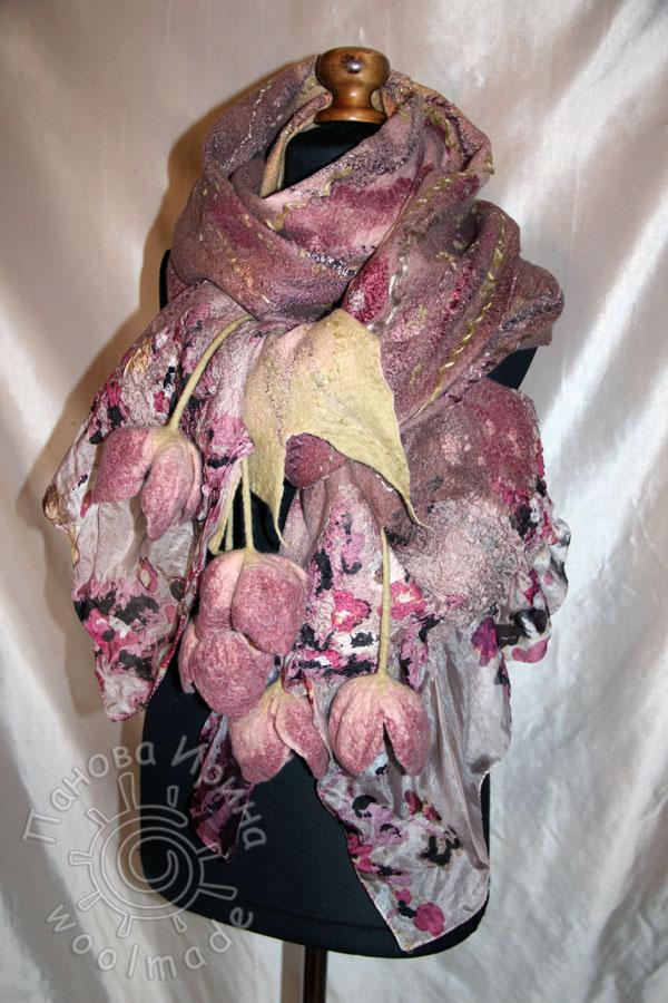 мастер-класс по валянию, нуно-войлок, палантин, цветы из шерсти