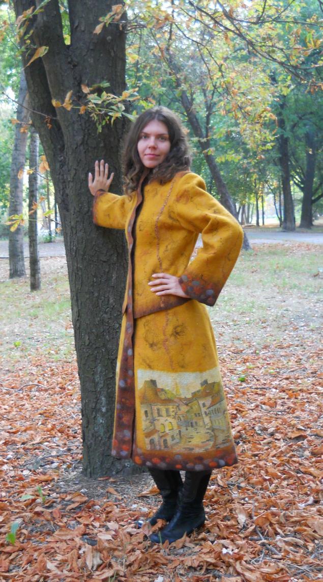 валяное осеннее пальто