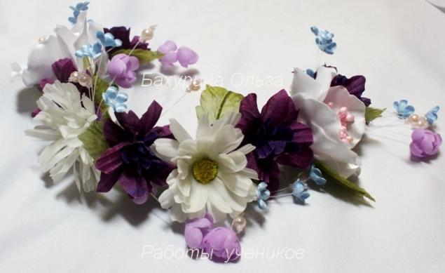полевые цветы, бульки, цветы из шелка