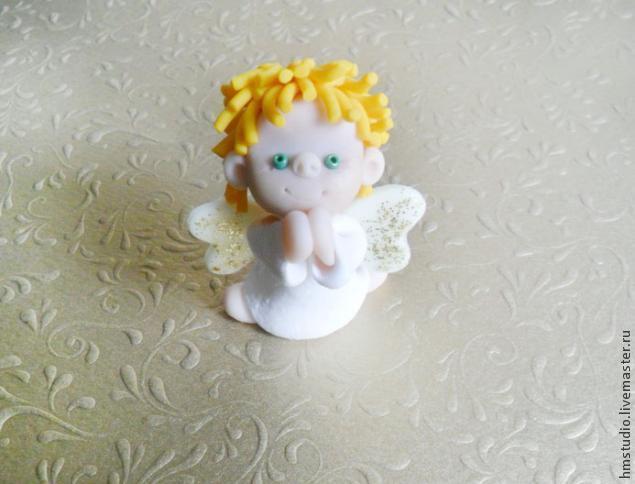 Рождественский ангел из полимерной глины, фото № 24