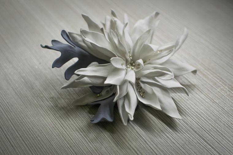 хризантема, фоамиран, цветок ручной работы, цинерария, цветы декоративные, рукоделие, мастер-класс по цветам, цветы из ткани