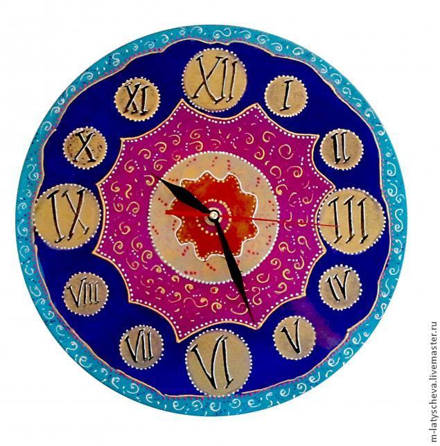 Яркие настенные часы (роспись), фото № 28
