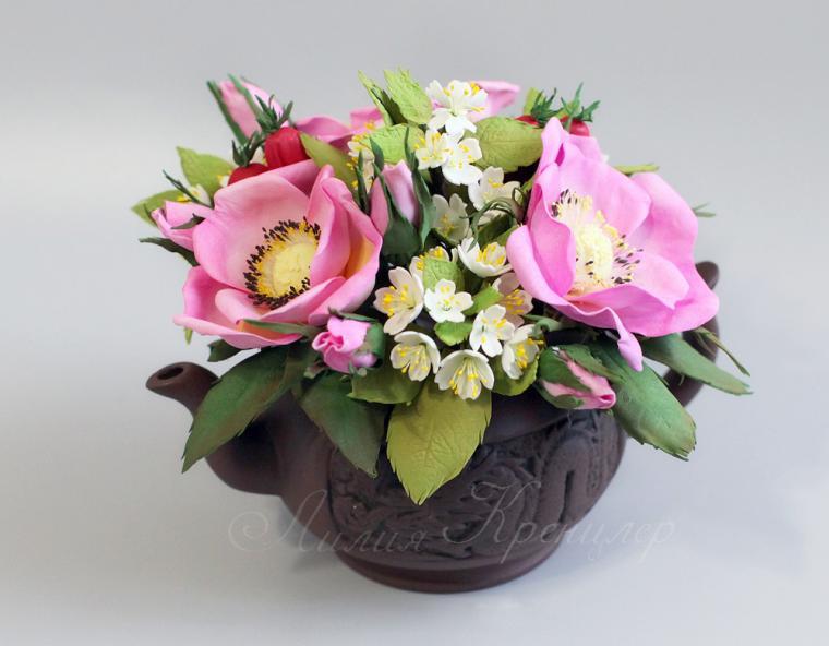 фоамиран, цветы из фоамирана, шиповник