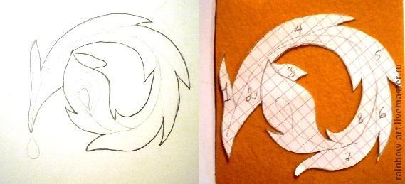 Эскиз птицы для вышивки