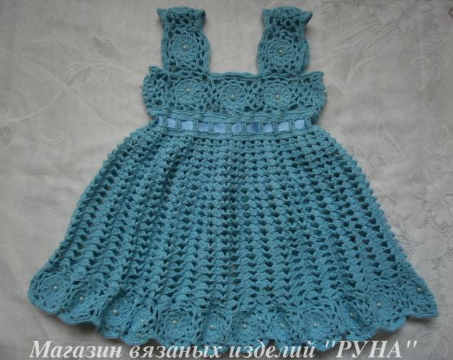 вязаное платье, красивое детское платье, авторская работа, красивый сарафан