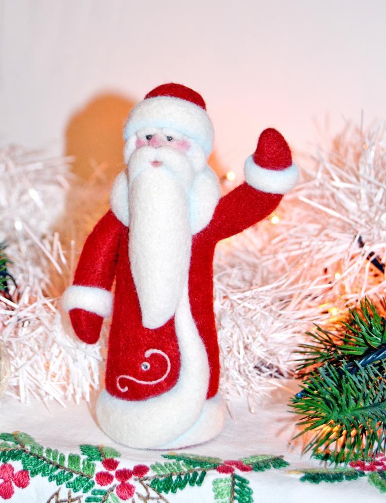 дед мороз, новый год, мастер-класс по валянию, сухое валяние игрушки, бугрова жанна, дед мороз из шерсти, валяный дед мороз