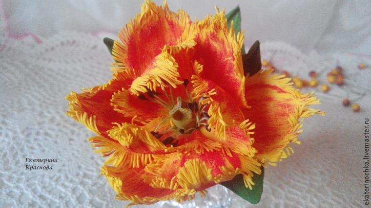 """Создаем оригинальный сувенир: """"ручка-тюльпан"""" из фоамирана - Ярмарка Мастеров - ручная работа, handmade"""