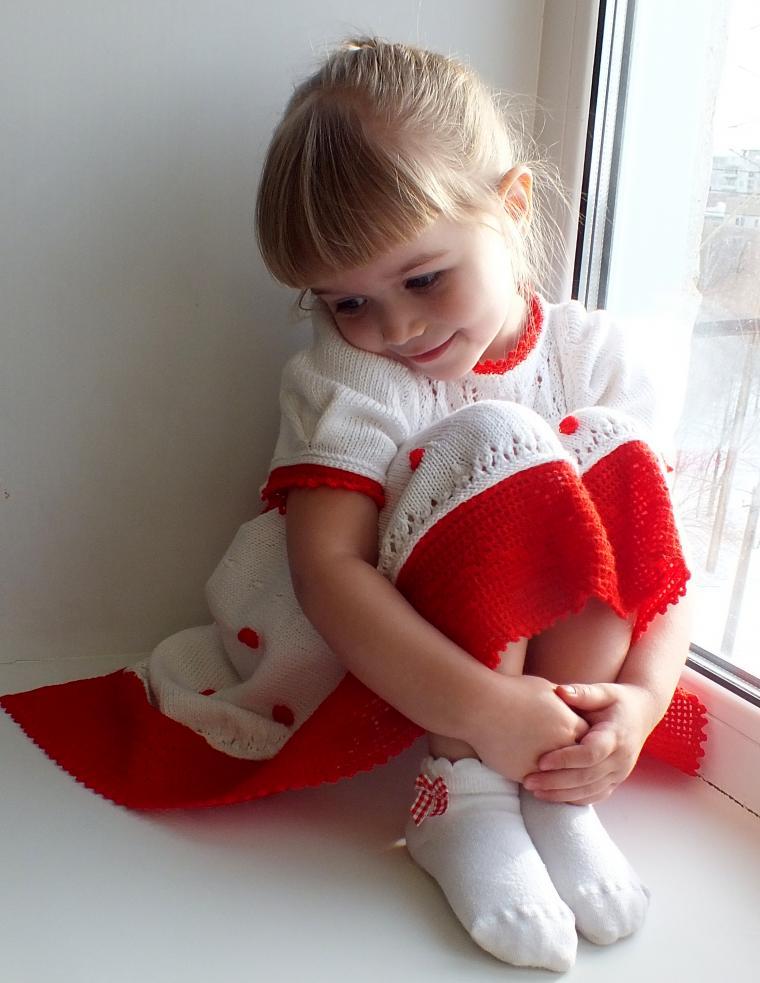 детское платье, зимняя роза