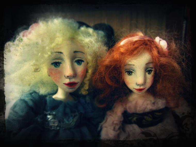 авторская кукла, процессы, будуарная кукла, сёстры, винтаж