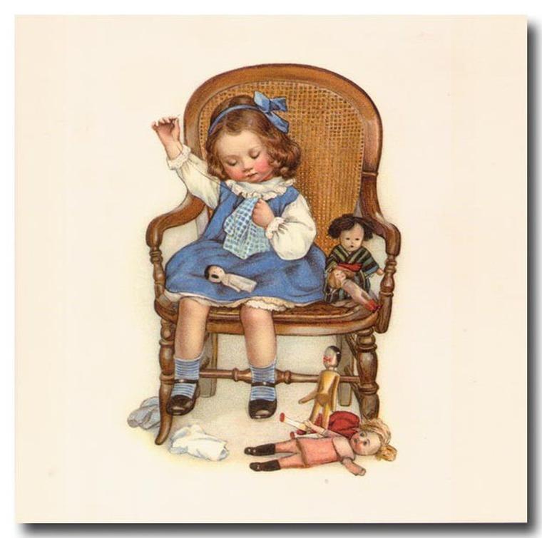 Старинные открытки с детьми и игрушками, болтами