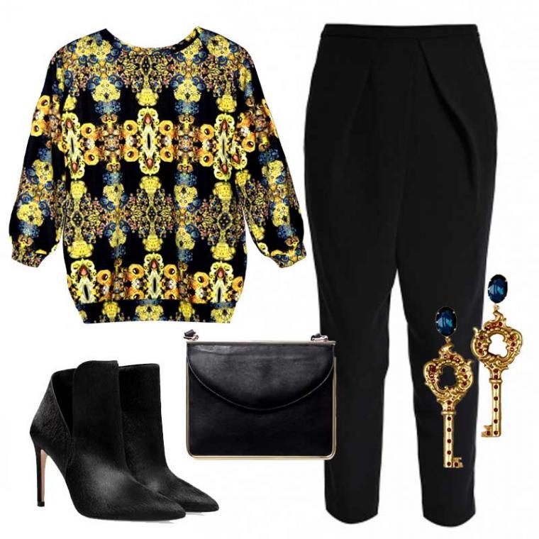 свитшот, джемпер, толстовка, принт, свитшот с принтом, pavocreations, модные тенденции, брюки, платье, серьги, барокко, барочный принт, желтый, синий, яркий, dolce gabbana, дизайнерская одежда, дизайнерские украшения, дизайнерские вещи, пошив на заказ