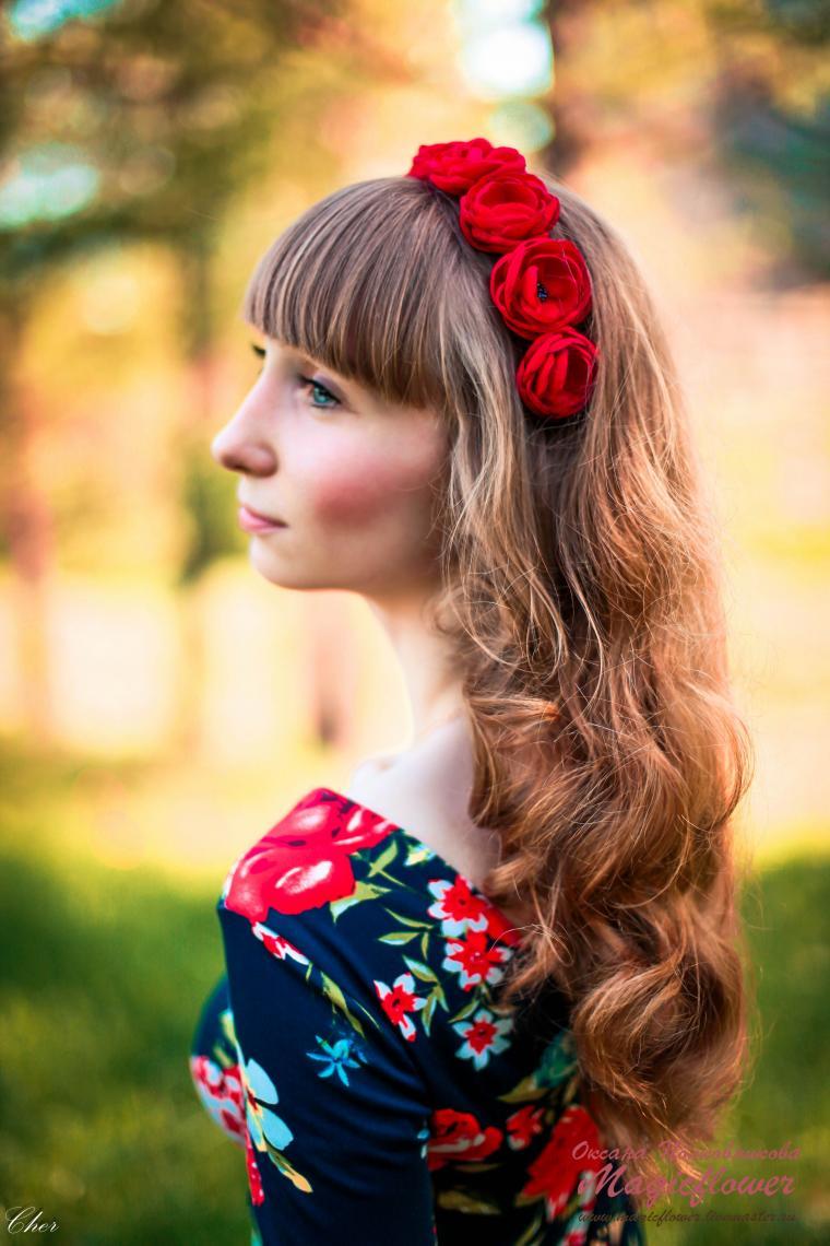 скидка 20%, ободки для волос, цветы из ткани, обруч