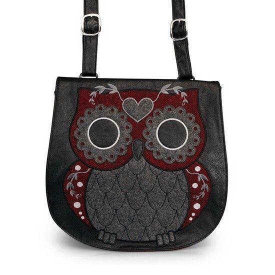 Tweed Owl Crossbody Messenger Bag by Loungefly (Grey/Burgundy) #InkedShop #owl #bag #crossbody