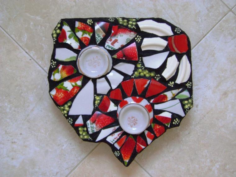 Мозаика из посуды своими руками