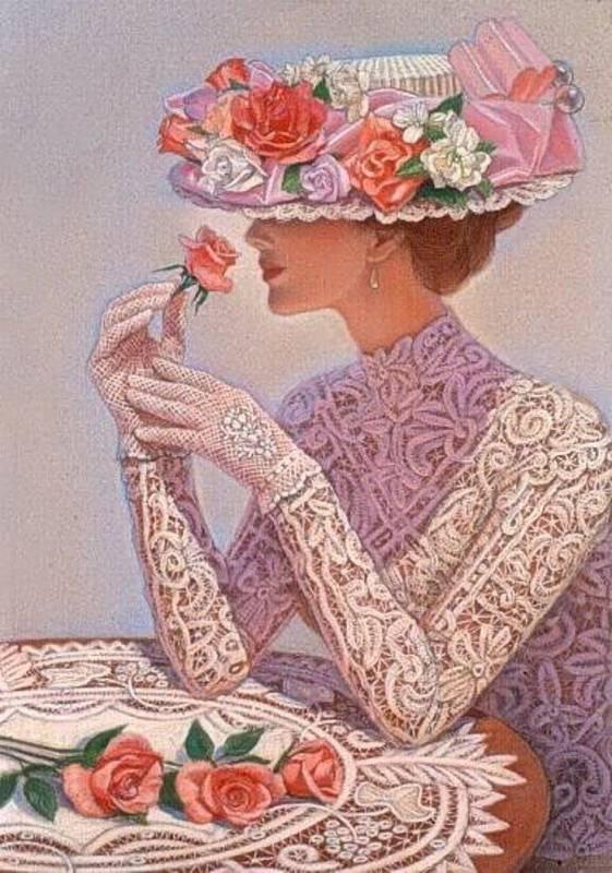 Викторианские леди вышивка