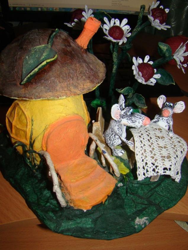 грибы, домик, мышка, сказка, игрушка, ручная работа, семья, папье-маше