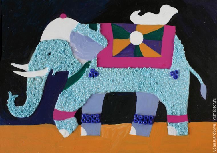How to Make a Beaded Mosaic with an Indian Elephant with Kids, фото № 6