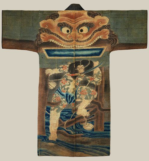 A firefighter's coat from the 19th century, Japan, based on a print by Utagawa Kuniyoshi, coming to the Met's kimono survey.Credit, John C. Weber Collection