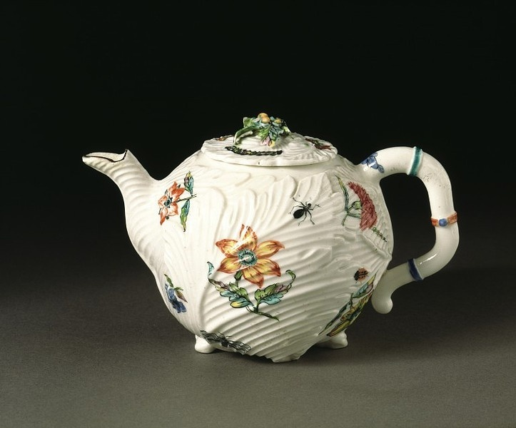 Teapot        Place of origin:        London, England (made)      Date:        ca. 1747-1749 (made)      Artist/Maker:        Chelsea Porcelain factory (maker)      Materials and Techniques:        Soft-paste porcelain, painted in enamel colours