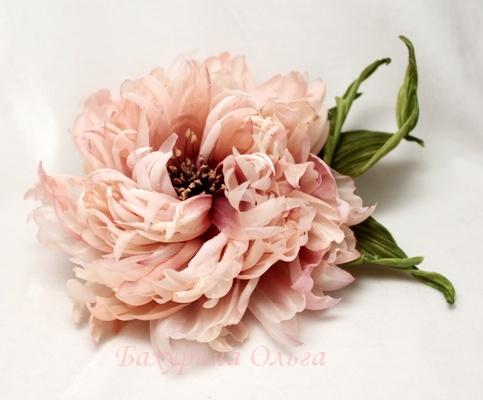 цветы, цветоделие, пвс, пионы, брошь ручной работы
