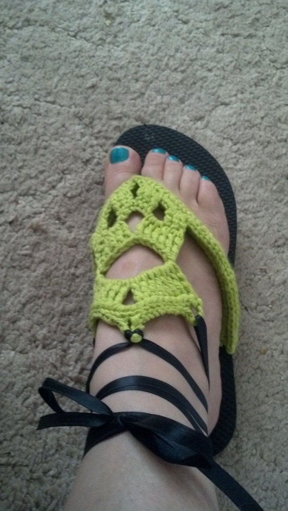 Crocheted Flip Flop with barefoot sandal look