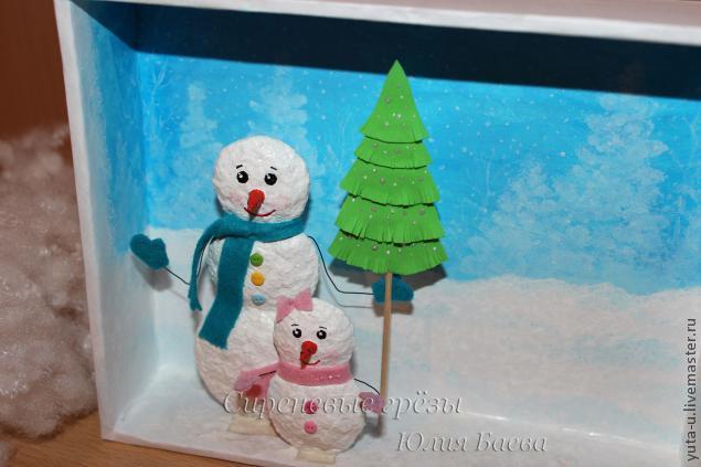 Снеговик на картоне своими руками