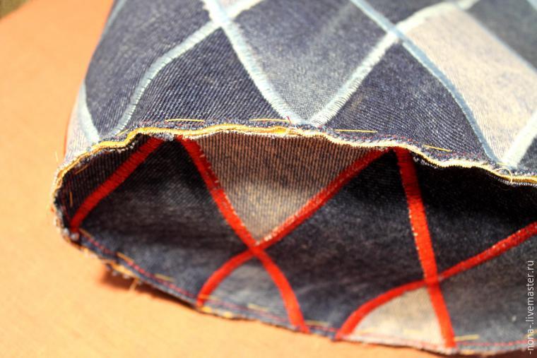 63366a198ad4 С изнанки на молнию настрачиваем две детали из подкладочного хлопка,  подвернув 1 см под шов. С внешней стороны настрачиваем на молнию две детали  джинсовых ...