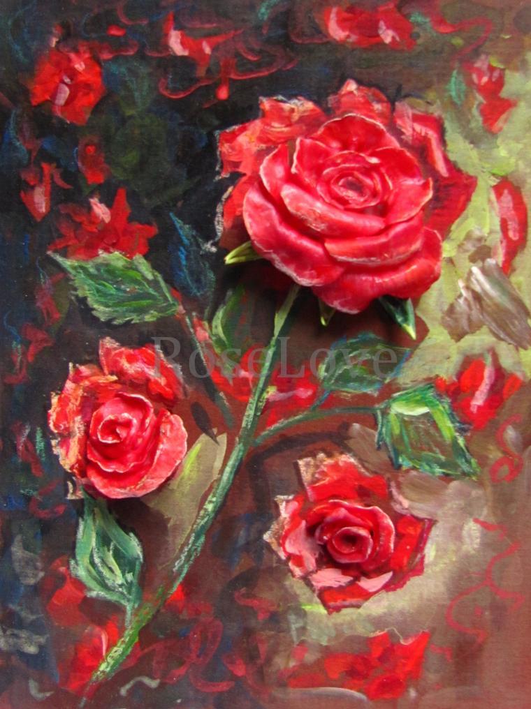 картина, картина с цветами, красный, катерина аксенова, роза из полимерной глины, подарок девушке, картина для интерьера