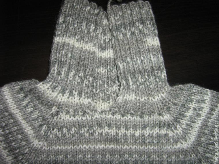 Вязание свитера от горловины с реглан 146
