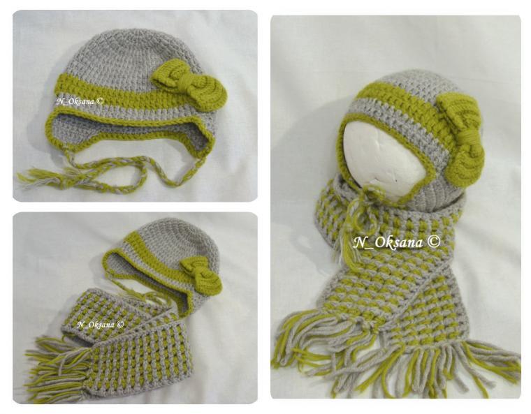 в полоску, шапка вязаная, шапка зимняя, шапка крючком, шапка с завязками, шарф вязаный, шарф шерстянной, шарф для девочки