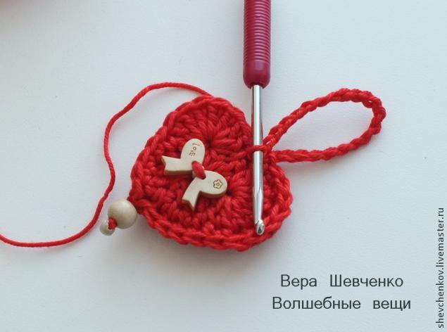 МК Вяжем сердечко - брелок (много фото), фото № 30