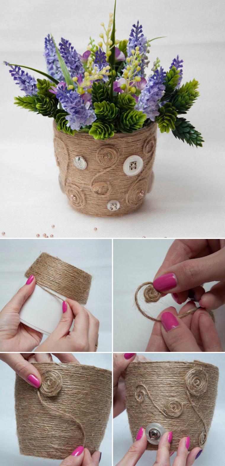Как украсит пластмассовые горшки для цветов