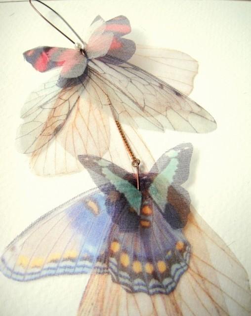 Длинные серьги Fluttery Кластер - Трансфер на органза-выписка кусок-сингл -