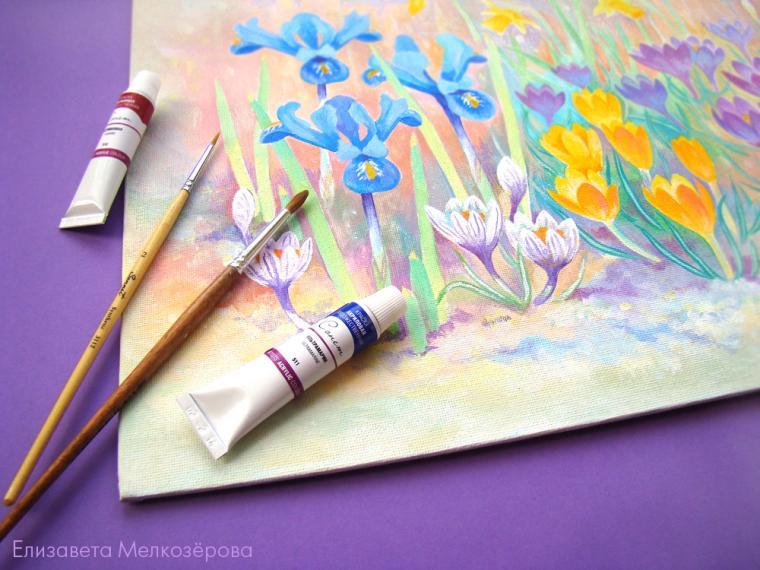 акрил, картина с цветами
