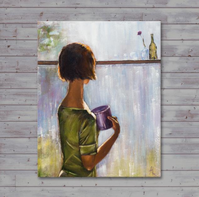новинка, картина, живопись, масло, окно, дождь, девушка