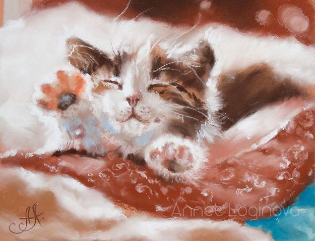 котенок, доброе утро, кот на картине, соня, утро, картины пастелью