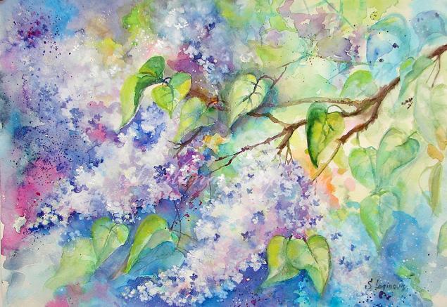 акварель, живопись акварелью, картины с цветами, сирень