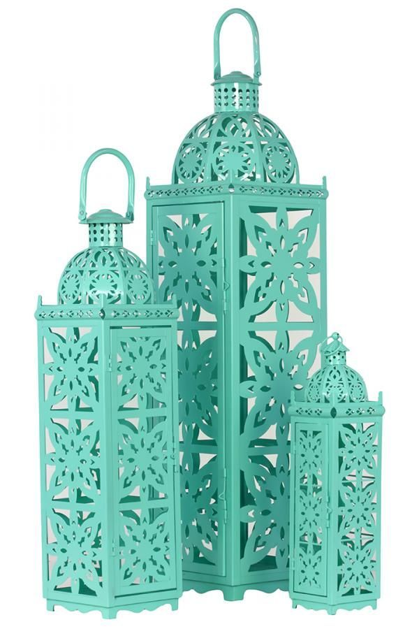 Taj Mahal Lanterns, Turquoise  (Set of Three)