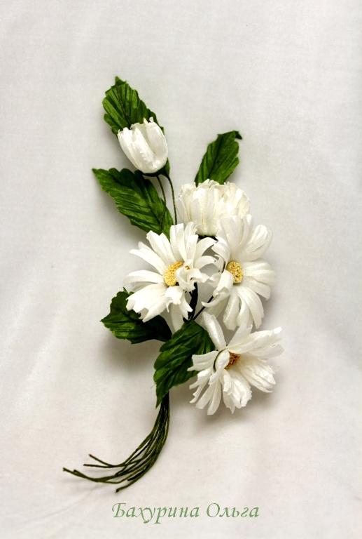 ромашки, букет цветов, цветы из шелка, цветоделие, бульки